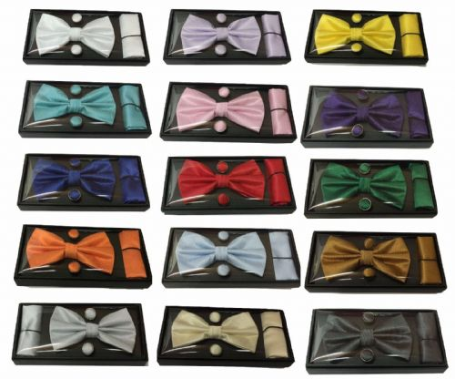 3 Pcs Set Woven Silk Bow Tie Cufflinks Pocket Square Gift Box Fathers Day UK
